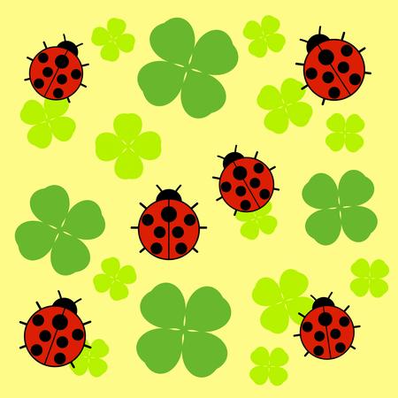 Ladybug and a clover 写真素材