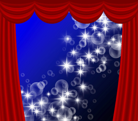 Stage curtain and glow Imagens