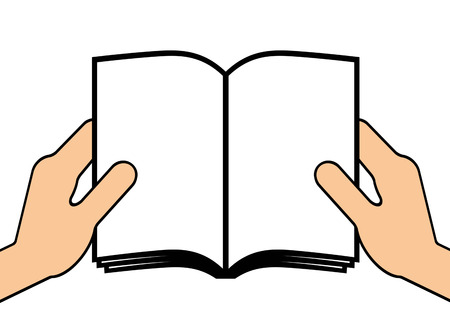 A book is opened by both hands.
