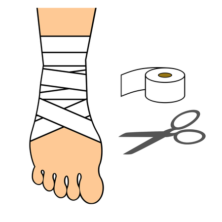 A bandage is wound around a leg.