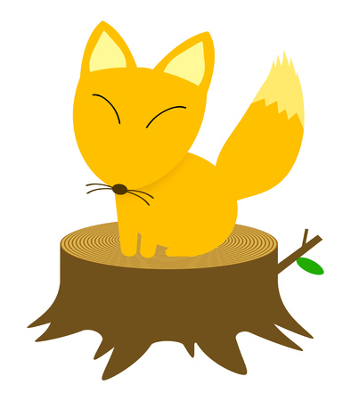 A fox sits down on a stump.