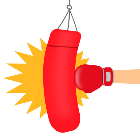 A punching bag is being hit. Stock Photo