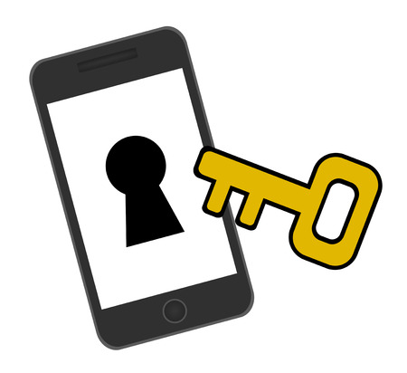 Smart phone and key Stock fotó