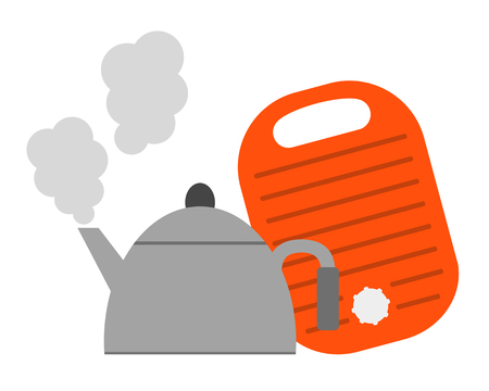 Hot-water bottle and a kettle