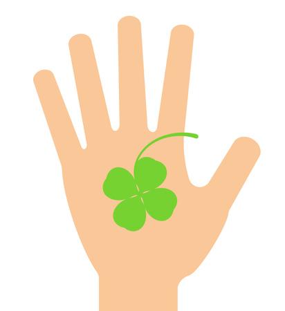 A clover gets on a palm. Stock fotó