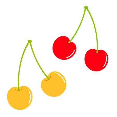 Red cherry and yellow cherry.