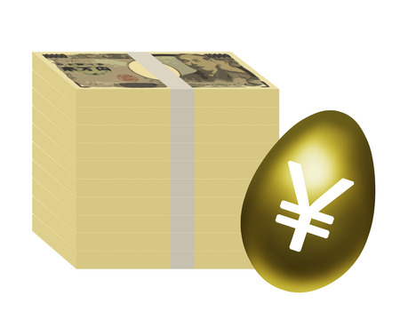 Gold egg and Japanese money