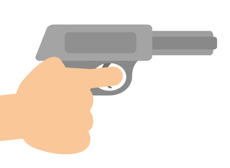 The hand which grasps a pistol.
