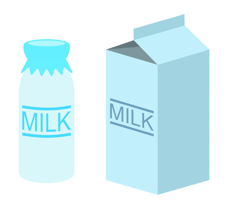 Milk pack and milk bottle.