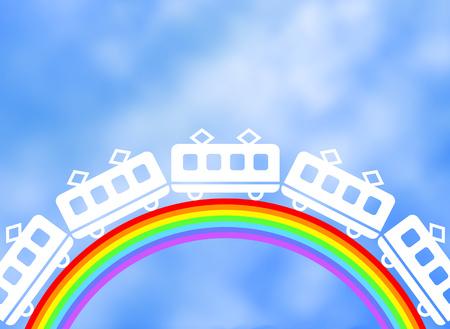 A train runs on the bridge of a rainbow.