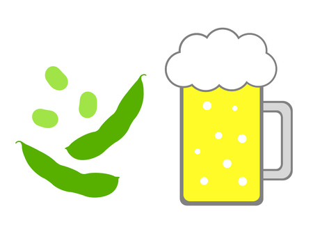 Beer and green soybeans Stock Photo