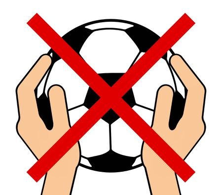 Prohibited of having a soccer ball 写真素材
