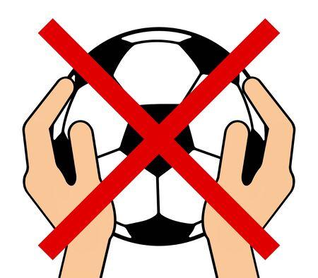 Prohibited of having a soccer ball 写真素材