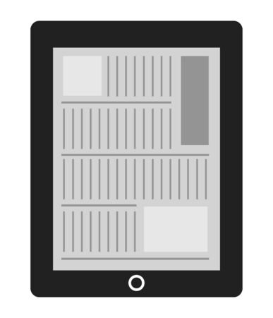 The reading which is a newspaper by a tablet