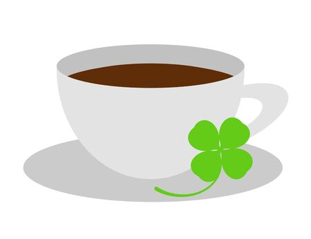 Coffee cup with a clover.