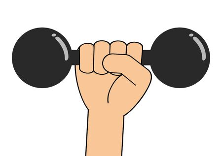 The hand holds a dumbbell. Stock Photo