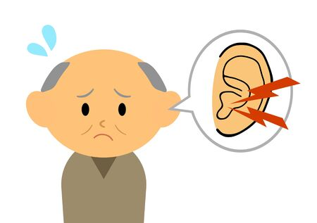 The grandfather who is suffering from tinnitus 스톡 콘텐츠