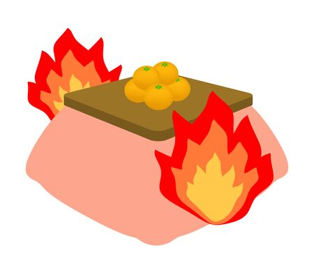 A kotatsu has caught the fire.