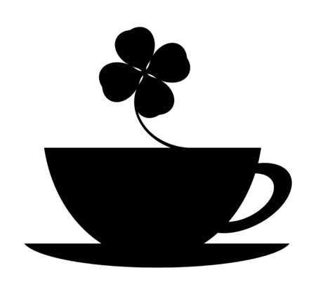 The silhouette of the coffee cup and the clover.