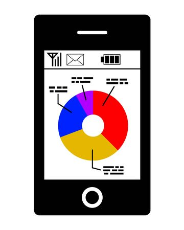 A graph is displayed on the screen of the smartphone