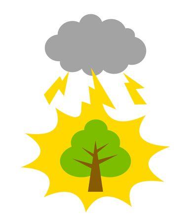 Thunder falls on a tree. Banco de Imagens
