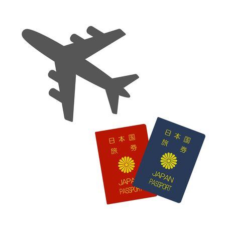 Airplane and the passport.