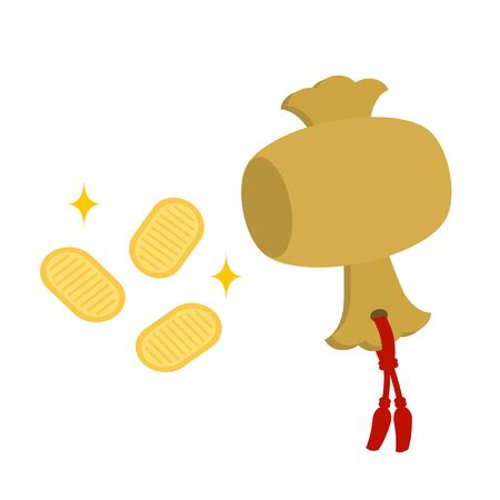Small mallet and an old Japanese gold coin. Stock Photo