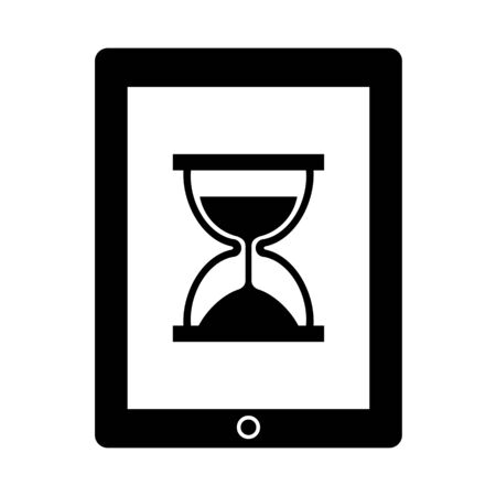 A hourglass is displayed on the screen of the tablet.