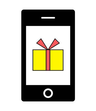 A present box is displayed on the screen of the smartphone.