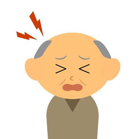 A grandfather suffering from a headache