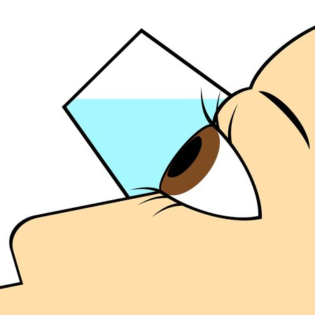 Person washing eyes with eyedrains.