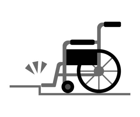 A wheelchair stops that at a step.