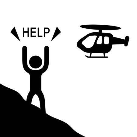 A person who asks helicopter for help.