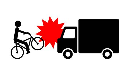 Collision of a truck and a bicycle. Stock Photo - 131644150