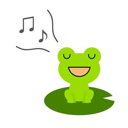 A frog is singing.