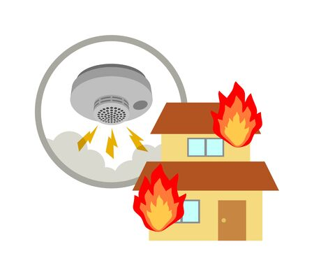 A fire alarm is actuated at a burning house. Stock fotó