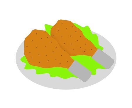 Fried chicken on dish. Banco de Imagens