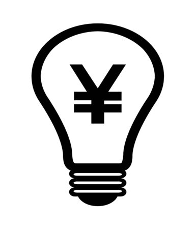 Light bulb with Japanese yen drawn mark.