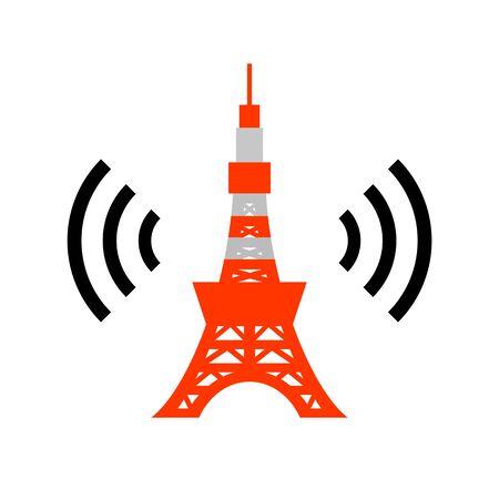 Tokyo Tower and radio wave. Фото со стока