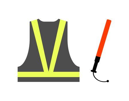 Safe vest and a lead stick.