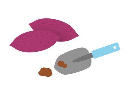 Sweet Potato and Shovel. Reklamní fotografie