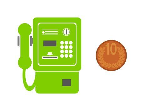 Public phone and coin. Фото со стока