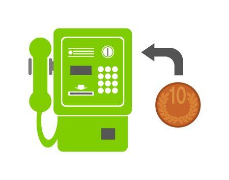 Public phone and coin. 版權商用圖片