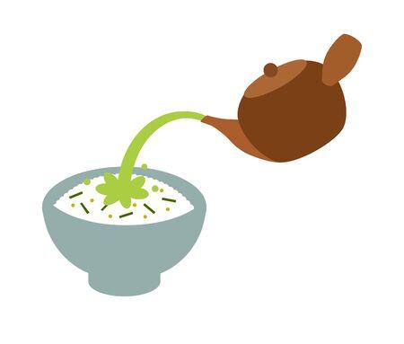 Pour tea on rice