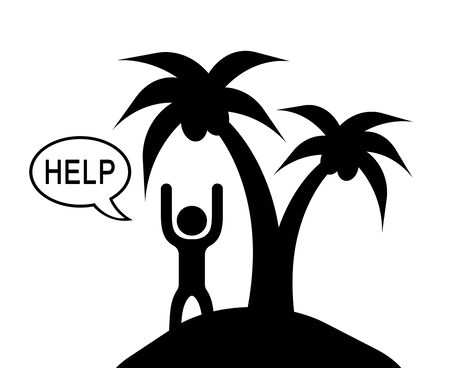 The Person Who Asks Help at an Island. Banco de Imagens