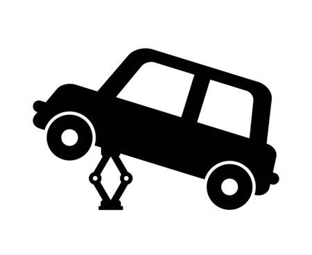 A car lifted by a jack Banco de Imagens