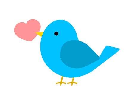 The little bird which holds a heart mark in its mouth