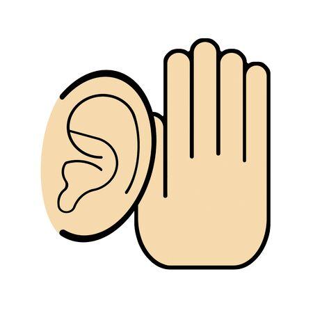 Ear and hand Фото со стока