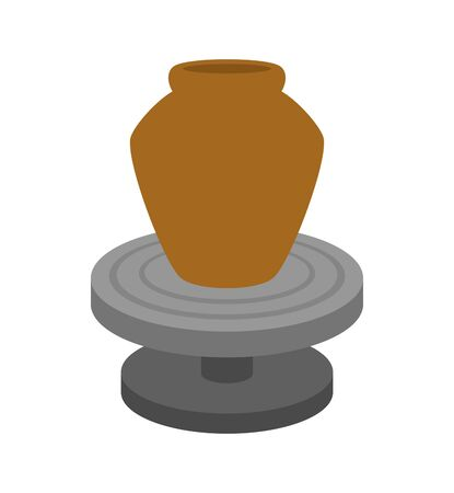 Make a pot in a potters wheel.