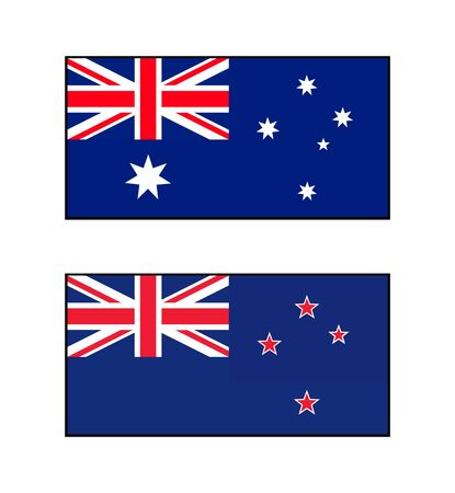 National Australian flag and a New Zealand national flag.